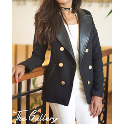 Double breasted Wool & leather blazer