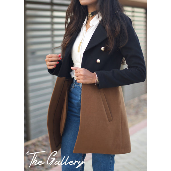 Half black half camel coat