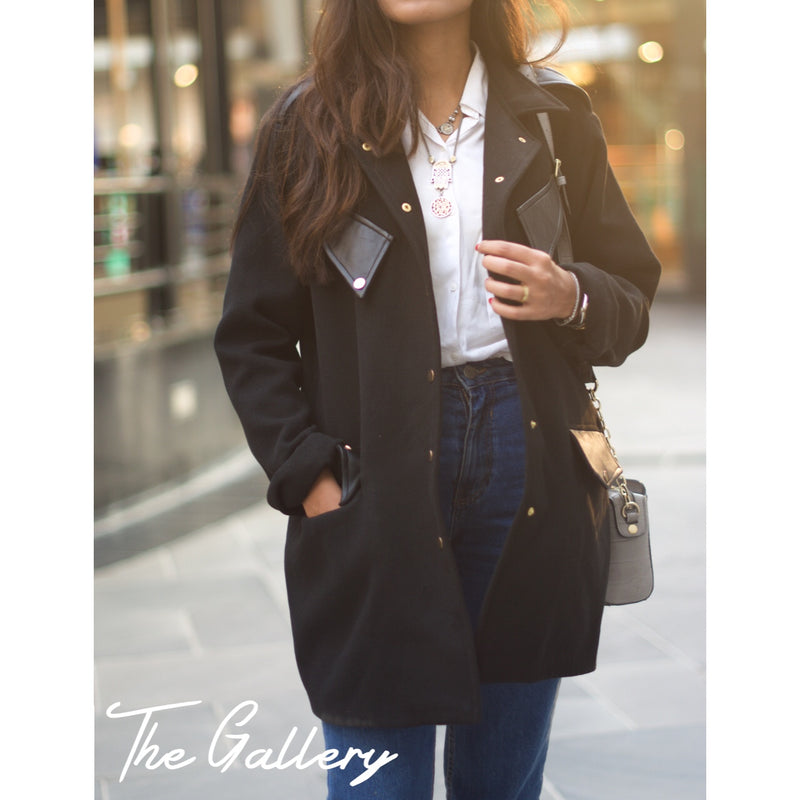 Black Over sized wool jacket