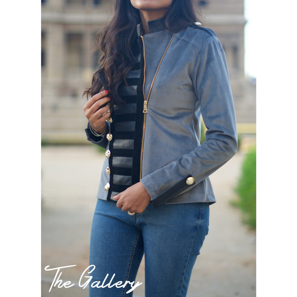 Military velvet leather jacket