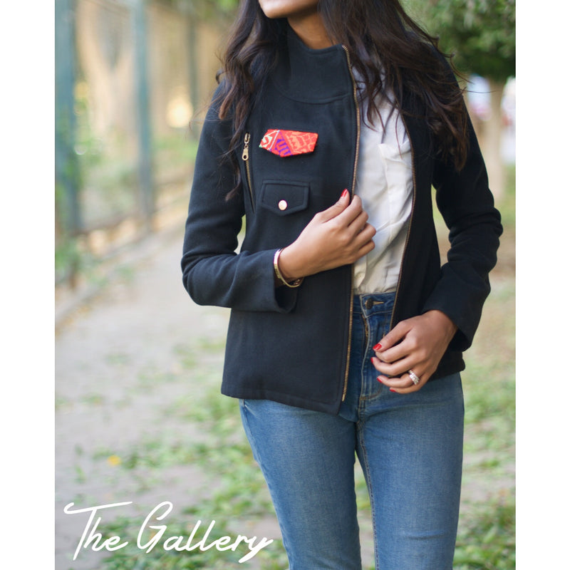 Black short wool jacket