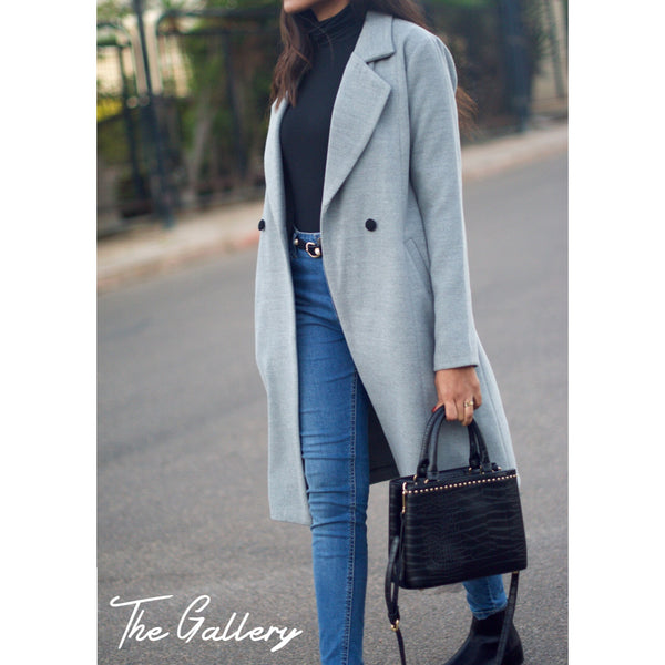Long grey wool coat