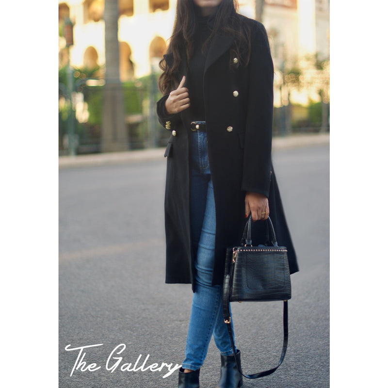 Double breasted black wool coat