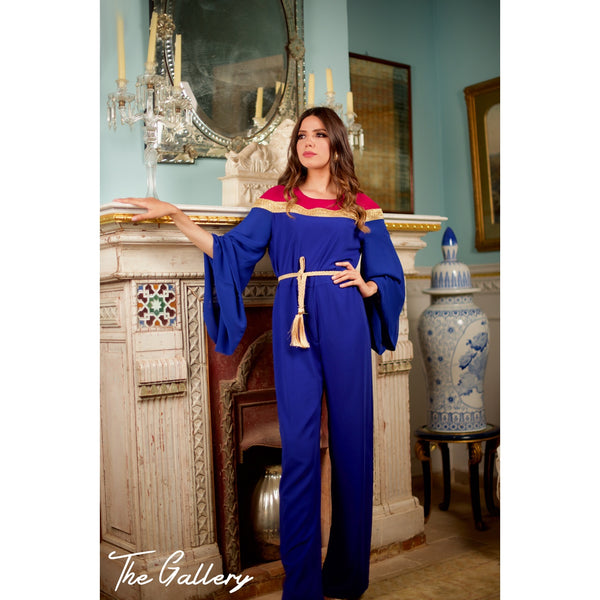 Blue Long sleeved jumpsuit