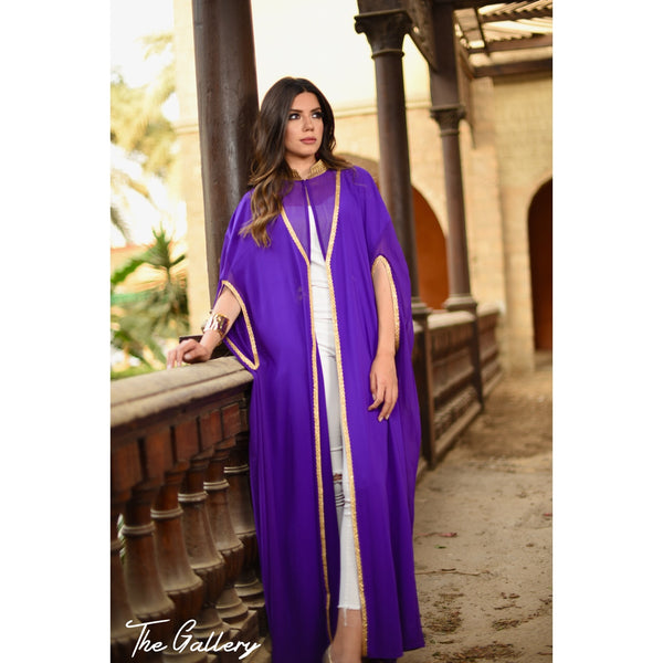 high neck cape kaftan