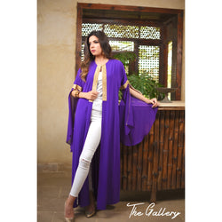 Purple opened sleeves kaftan