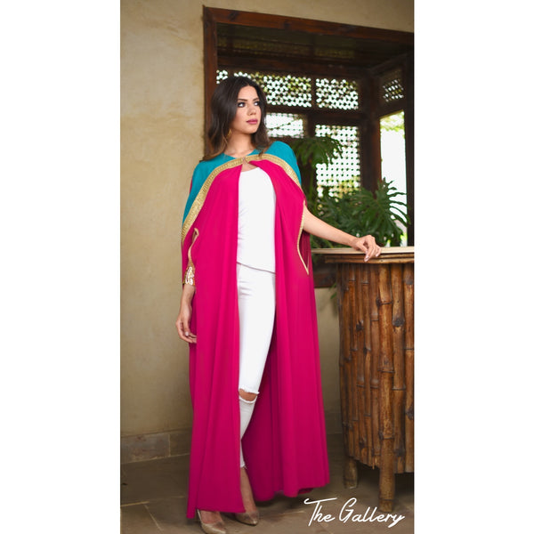 Dark turquoise and fushia cape kaftan