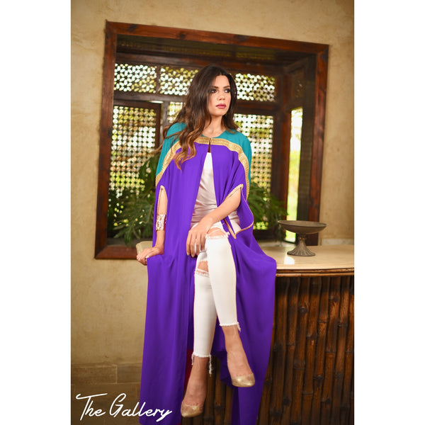 Dark turquoise and purple cape kaftan
