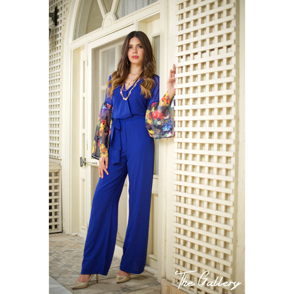 Long sleeved blue jumpsuit