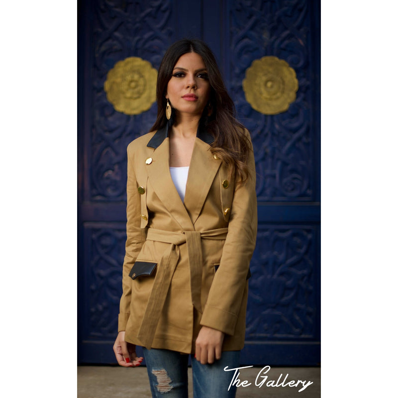 Moutarde color trench jacket