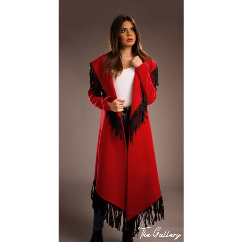 Hot red wide collar coat.