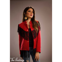 Hot red wool jacket