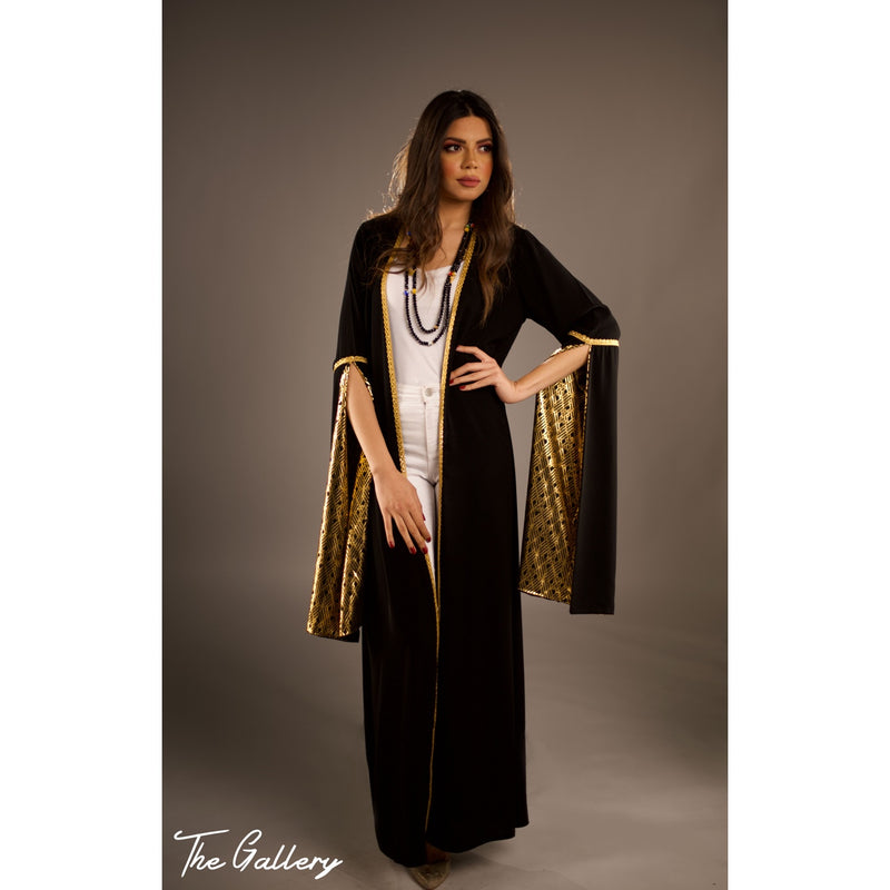 Black opened sleeve kaftan