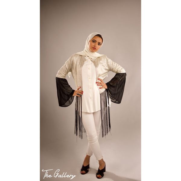 Metallic tassel cardigan