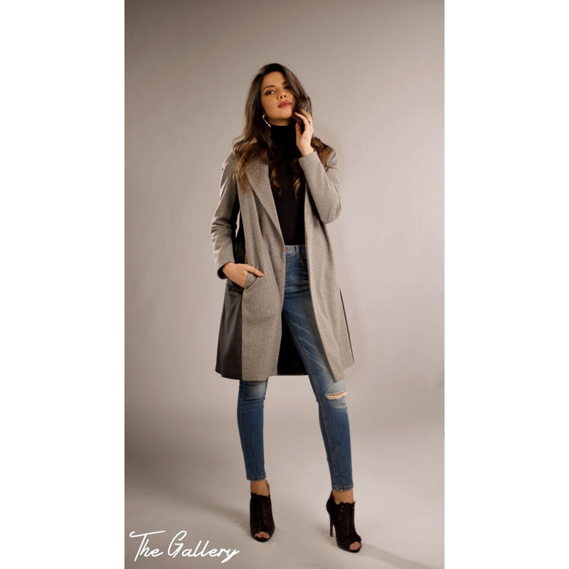 Grey black wool coat