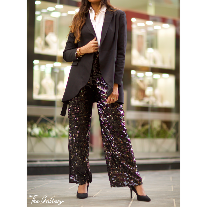 Wide sequin pants