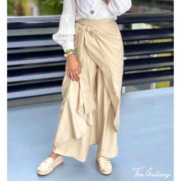 High waisted beige pants skirt