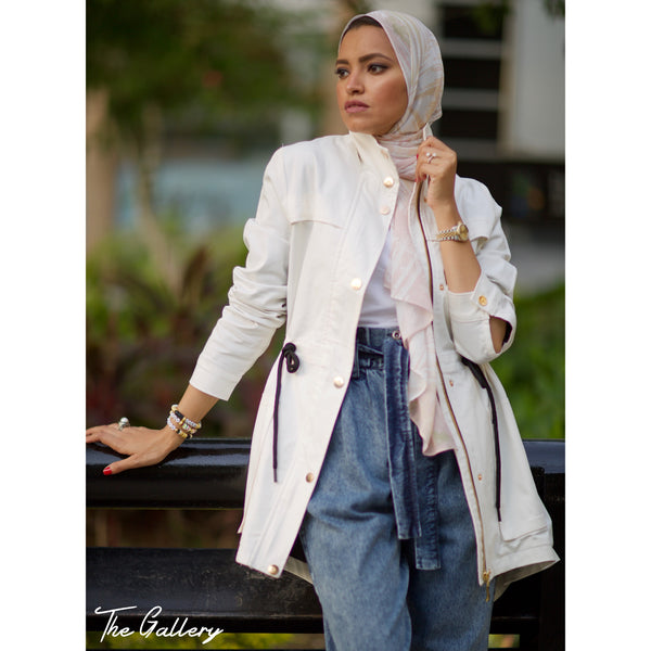 White gabardine drawstring jacket