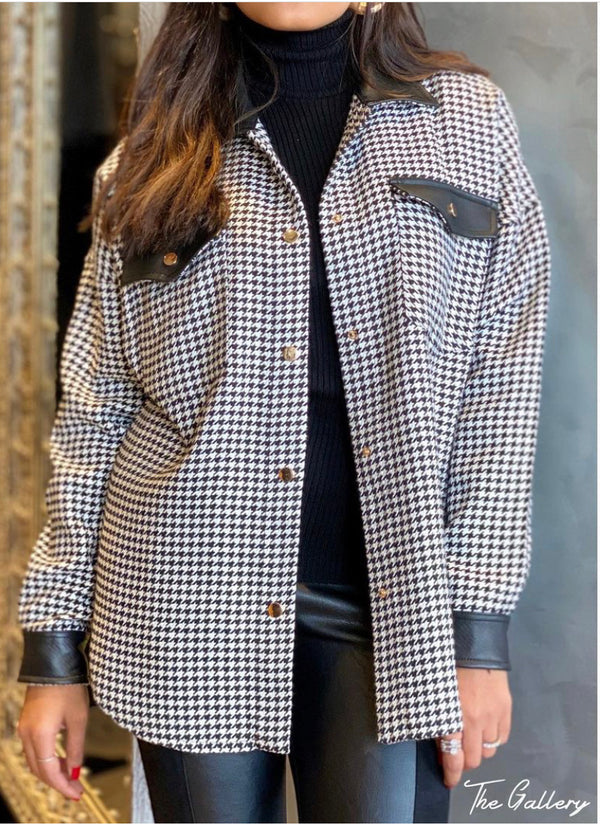 Houndstooth wool shirt