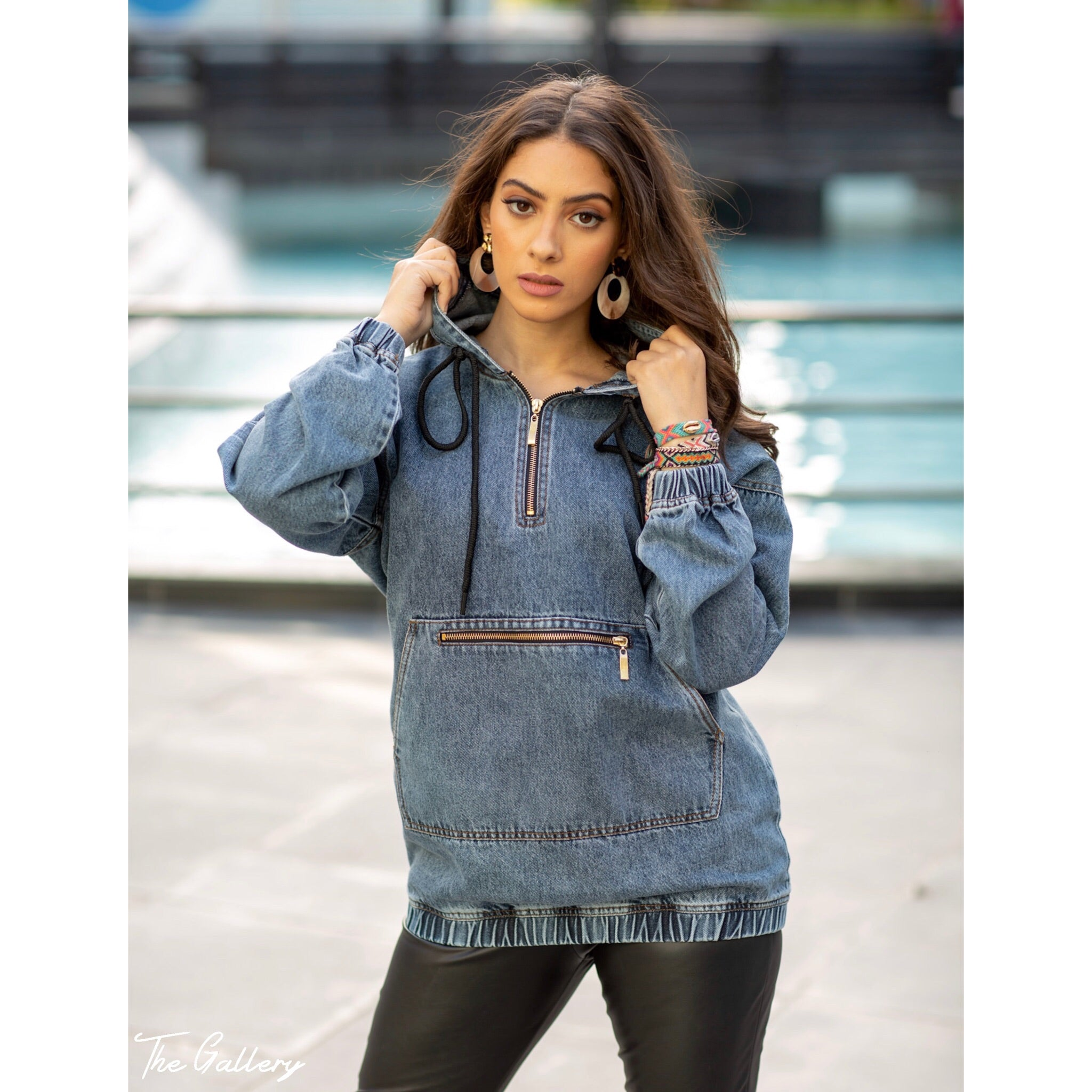 Denim hooded top