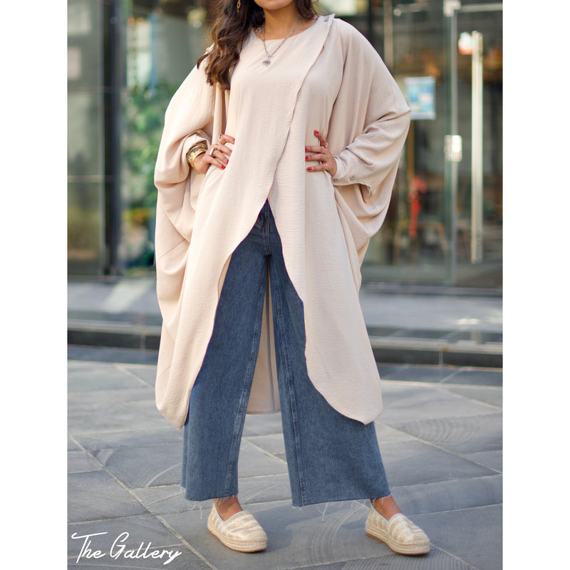 Beige double breasted drape oversized blouse