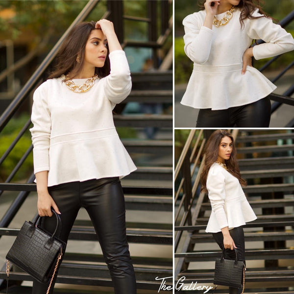 Off white peplum wool top