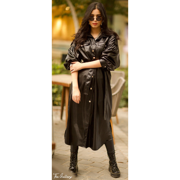 Puffed sleeve leather shirt dress