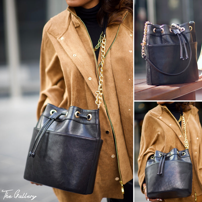 Black leather bucket bag