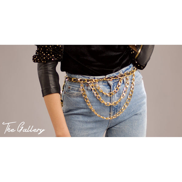 Balck x gold chain belt