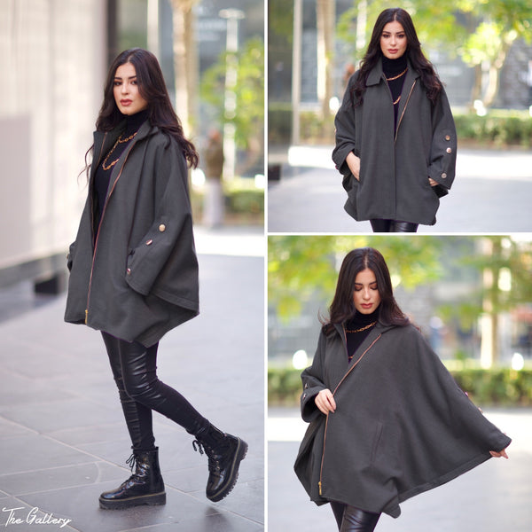 Grey wool cape