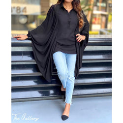 Black wide arm blouse