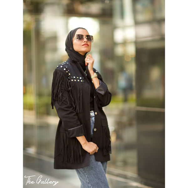 Black Studded Fringe Jacket