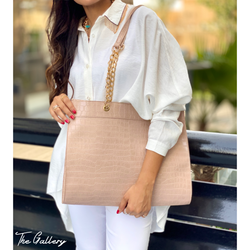 Rose Beige crocodile tote bag