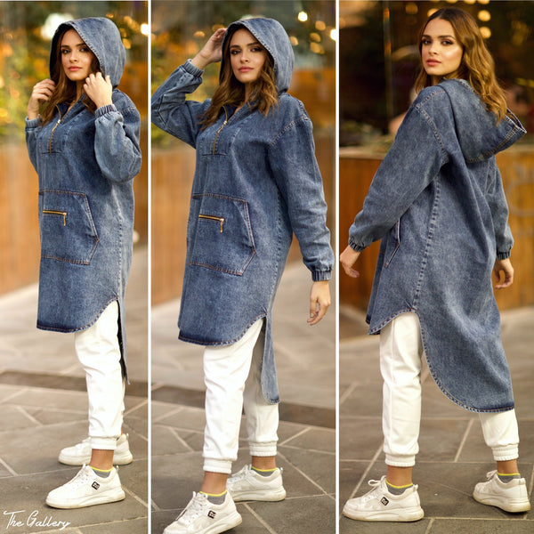 High low denim hooded top