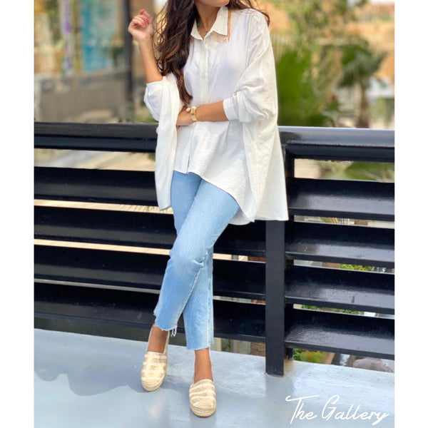 White oversized tassel shirt