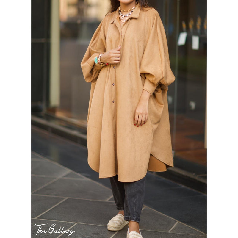 Suede oversized loose shirt