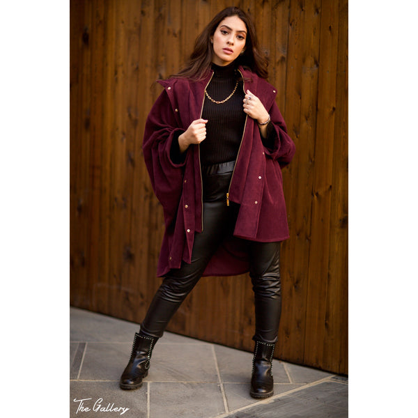 Eggplant wide oversized jacket