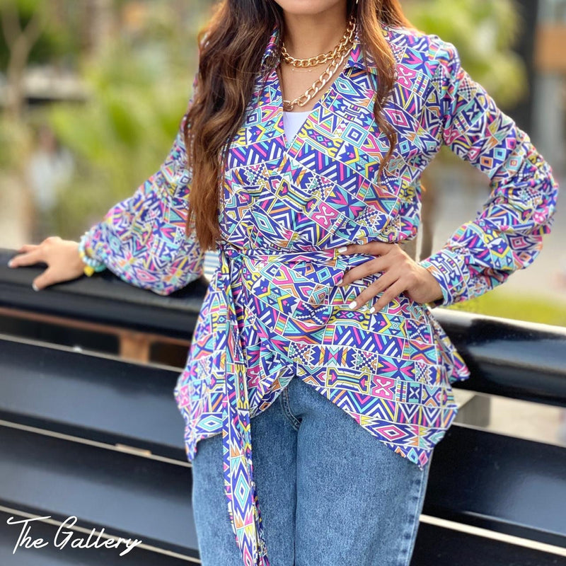 Printed double breasted wrap blouse