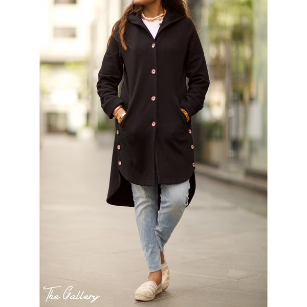 Black Wool hooded jacket