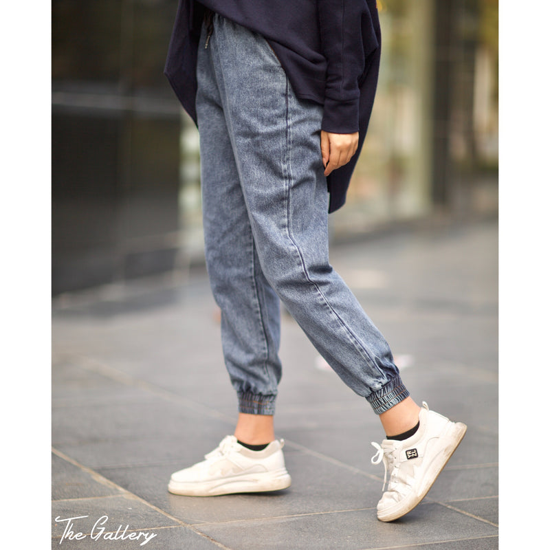 Blue denim jogging pants