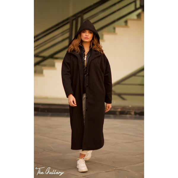 Oversized hooded long jacket