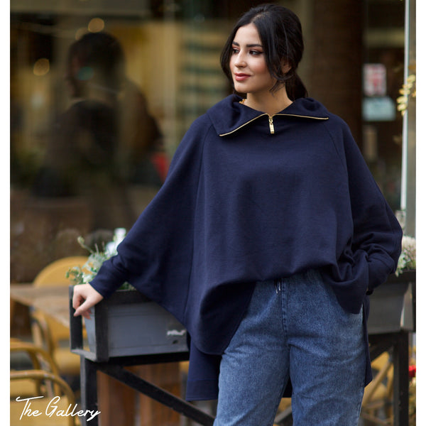 Dark blue oversized top