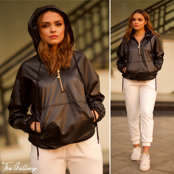 Black faux leather hooded top