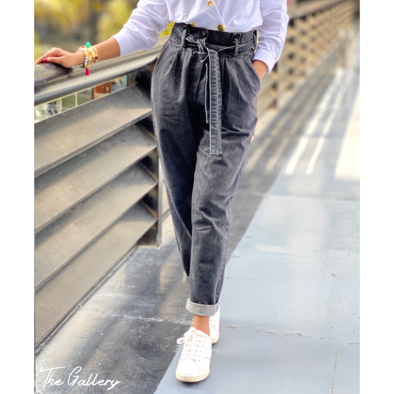 Paperbag waist grey denim pants