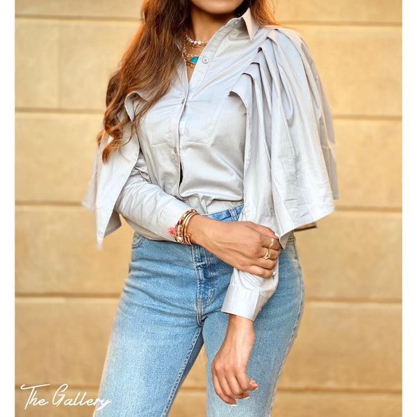 Winged ruffled sleeve shirt