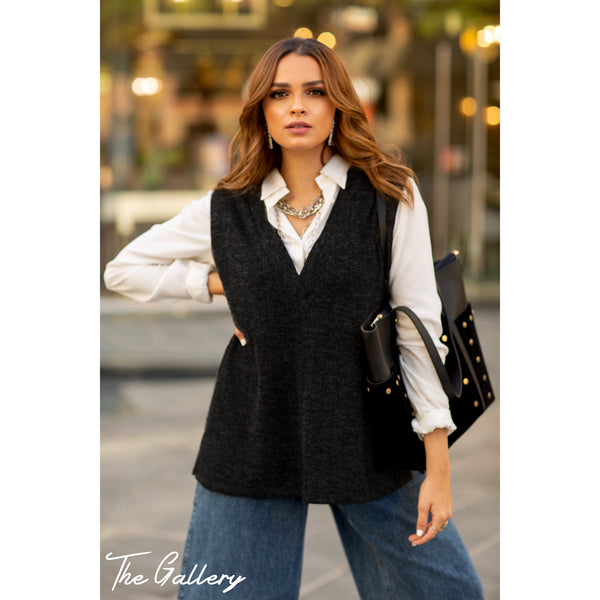 Dark grey knitted sweater vest