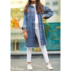 Long blue denim jacket