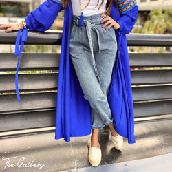 Paperbag waist blue denim pants