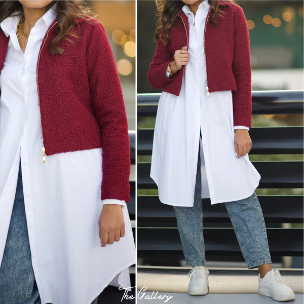 Faux shearling red  cropped jacket