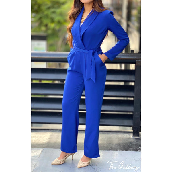 Double breasted blazer jumpsuit